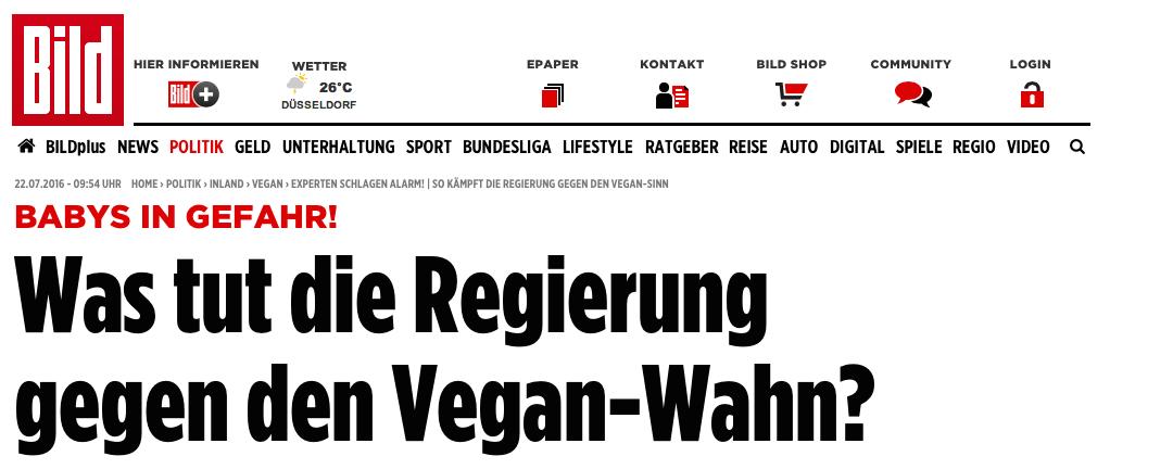 BILD Zeitung im Vegan Wahn